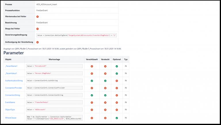 Auflistung der Scripte für Erzeugung von Parametern für Jobs