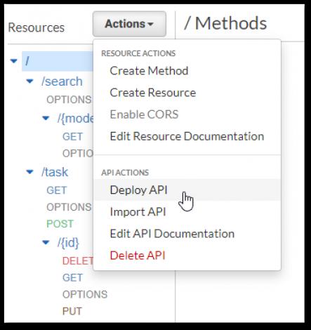 Starten der Veröffentlichung der API